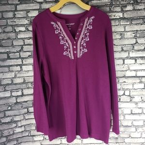 Woman Within Thermal Henley Embroidery Beads 18/20
